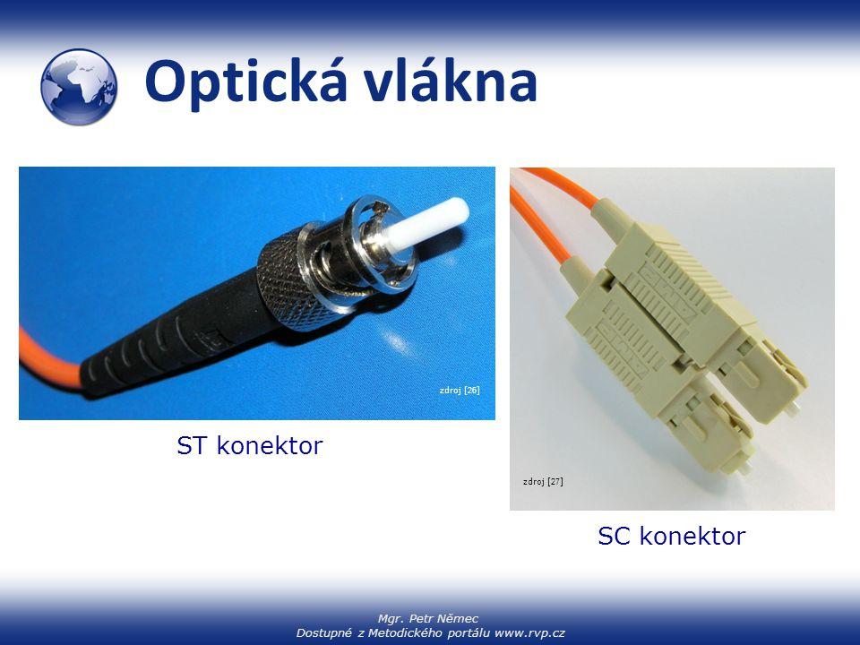 Optická vlákna ST konektor SC konektor zdroj [26] zdroj [27]